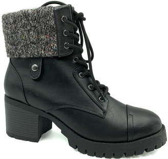 Bamboo Women's Casual boots BLACK - Black Knit Chief Combat Boot - Women