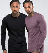 Asos 2 Pack Muscle Longline Long Sleeve T-Shirt