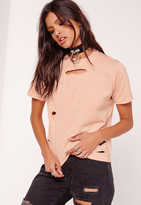 Missguided Petite Ripped Boyfriend T Shirt Nude