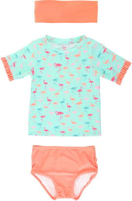 RuffleButts Flamingo Two-Piece Rashguard Swimsuit & Headband Set