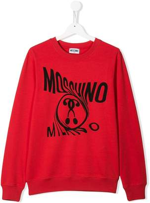 Moschino Kids long sleeve distorted logo sweater