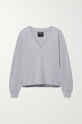 L'Agence Helena Stretch Cotton And Modal-blend Sweatshirt - Gray
