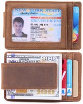 Money Clip, Front Pocket Wallet, Leather RFID Blocking Strong Magnet thin Wallet (onesize, Kinzd)