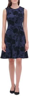 Tommy Hilfiger Floral Velvet-Trimmed Fit--Flare Dress