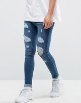 Bee Inspired Super Skinny Jeans With Distressing In Dark Blue