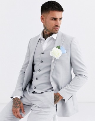 Asos Design DESIGN wedding skinny suit jacket in ice grey micro texture