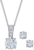 Giani Bernini 2-Pc. Set Cubic Zirconia Stud Earring and Pendant Necklace in Sterling Silver, Only at Macy's