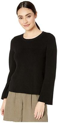 Michael Stars Vanessa Crew Neck Swing Pullover Cotton Sweater (Black) Women's Clothing