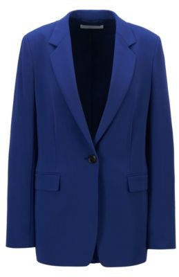 HUGO BOSS Relaxed-fit jacket in crease-resistant crepe with stretch