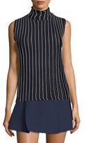 Carven High Neck Rib Knit Top