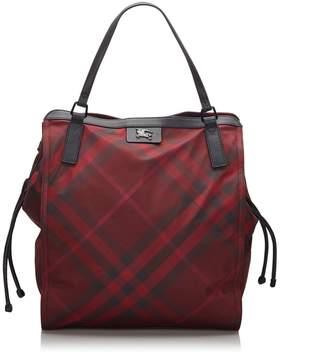 Burberry Pre-Loved Red Mega Check Nylon Buckleigh Tote Bag United Kingdom