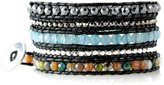 Beautiful Silver Jewelry Exotic Marrakech Colorful Faceted Bead Mix on Black Leather 5x Wrap Bracelet