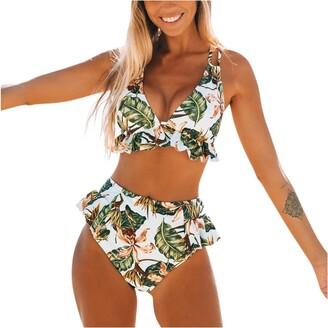 Gofodn 2020 Ladies Bikini Sets for Women Sexy High Waisted Swimsuit Summer Bohemia Print Ruffle Split Swimwear Beachwear Green