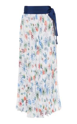 Silvia Tcherassi Blanche Tie-Waist Printed Pareo Skirt