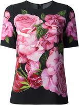 Dolce & Gabbana rose print top - women - Cotton/Viscose - 40