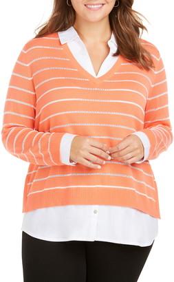 Foxcroft Dana Mix Media Stripe Sweater