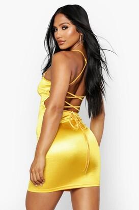 boohoo Satin Square Neck Strappy Back Bodycon Dress
