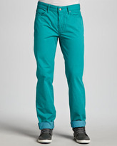 7 For All Mankind Standard Five-Pocket Twill Pants, Turquoise