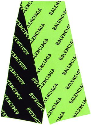 Balenciaga Logo All Over Knit Scarf in Acid Green & Black | FWRD
