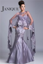 Janique - Full Length Floral Strapless Sweetheart Lace And Satin Mermaid Evening Gown With Cape JQ3412