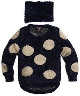 Imoga Cornellia Polka-Dot Eyelash Sweater w/ Scarf, Navy, Size 2-6