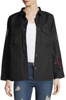 Zadig & Voltaire Tackl Long-Sleeve Button-Front Embroidered Jacket