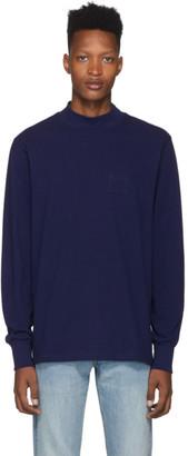 Leon Aime Dore Navy Mock Neck Dimebag Long Sleeve T-Shirt