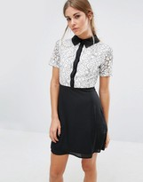 Fashion Union Shift Dress With Lace Top And Contrast Collar
