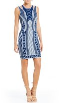 GUESS Clara Jacquard Cutout Shoulder Sheath Dress
