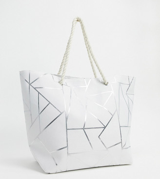 South Beach Exclusive geometric print beach tote bag in white canvas