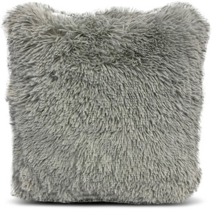Heritage Club Grey Long Faux Fur Throw Pillow, 18 x 18