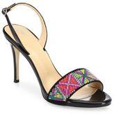 Giuseppe Zanotti Swarovski Crystal Accented Patent Leather Slingback Sandals