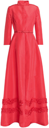 Carolina Herrera Belted Appliqued Silk-faille Gown