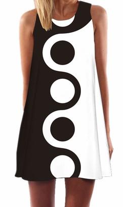 Ocean Plus Women's Sleeveless Vintage Boho Beach Dress Sundress Tank Tops Beach Dress Round Neck Short A Line Shirt Dress Blouse Dress (XXL (UK 16-18)