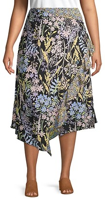 Calvin Klein Plus Ruffled Floral Wrap Skirt