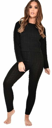 Crazy Girls Women Long Sleeve Cable Knitted Crop Top Loungewear Suit Ladies Co ord 2pcs Set Tracksuit (8/10