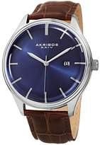 Akribos XXIV Men's Quartz Silver-Tone Case with Blue Sunray Dial and Silver-Tone Hands on Brown Alligator Embossed Genuine Leather Strap Watch AK914SSBU