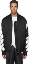 Off-White Black Diagonal Spray Bomber Jacket