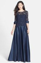JS Collections V-Back Lace & Satin A-Line Gown