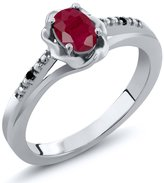 Gem Stone King 0.61 Ct Oval Red Ruby Black Diamond 925 Sterling Silver Ring