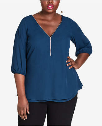 City Chic Trendy Plus Size V-Neck Zipper Front Top