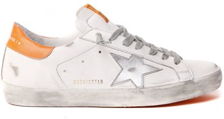 Golden Goose White Superstar Leather Sneaker Con Stella In Silver
