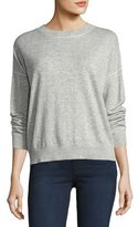 Theory Criselle Drop-Shoulder Crewneck Sweater, Gray