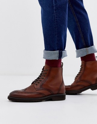Office brogue boots in tan leather