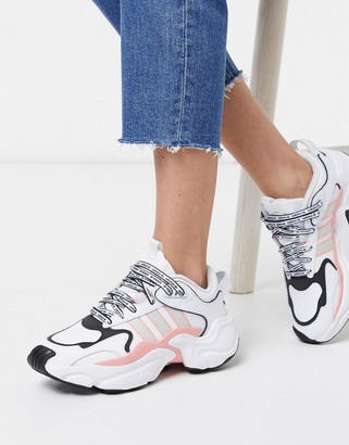 adidas Magmur Runner in white and pink
