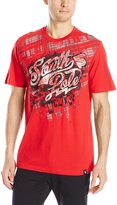 Southpole Men's Foil and Screen Print Graphic Tee with Plaid Backgrounds