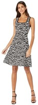 Milly Abstract Zebra Fit-and-Flare Dress (Black/White) Women's Clothing