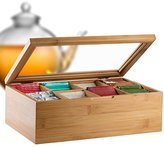 Bambüsi by Belmint 8-Compartment Tea Storage Box with Hinged Lid ✦ Crafted of 100% Natural Bamboo (Clear Lid)