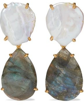 Bounkit Convertible 14-karat Gold-plated, Pearl And Labradorite Earrings