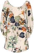 Izabel London Nature Print Waist Tie Top